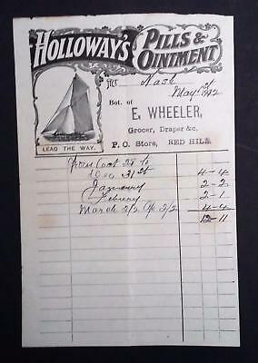 Vintage Holloway's Pills & Ointment Receipt. E Wheeler Grocer, Red Hill c1912