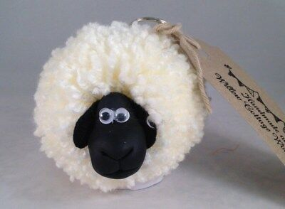 Woolly sheep key ring Hand made ( cream with black face)