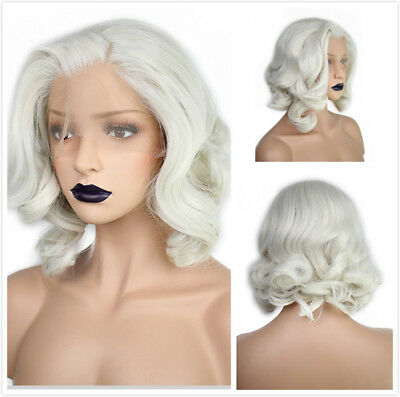Womens Heat Resistant Lace Front Wig Synthetic Hair Fashion Wavy Bob White Wig