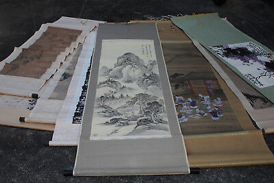 Vintage Chinese Calligraphy Hand Painted Hanging Scrolls set of 9 Holiday SALE!