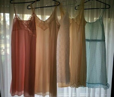 5 x Vintage Retro Slip Petticoat Nighties Size 14-16 Excellent Condition