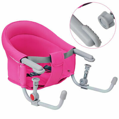Pink Foldable Baby Hook On Chair Booster Fast Table Chair Portable Carrying Bag