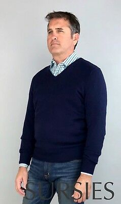 100% Cashmere Sweater POLO RALPH LAUREN Mens V-Neck French Navy ALL SIZES
