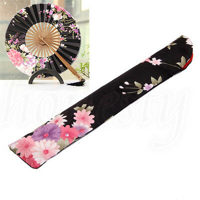 Chinese Floral Printed Hand Pocket Fan Bag Holder Silk Protector Pouch Black New