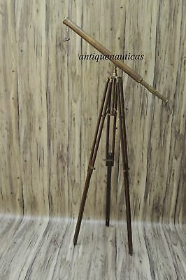 Antique Brass Nautical Telescope with Tripod Large Marine Navy Island CF644