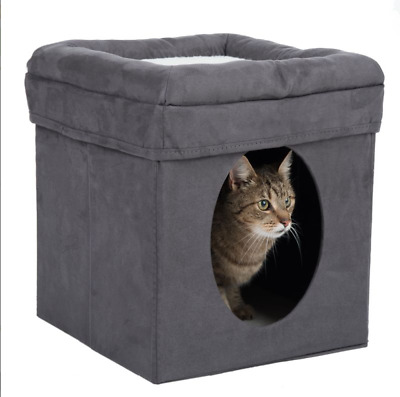 Collapsible Cat Den Cube Sheepskin Bed Foldable High Border Play Cuddle Kitten