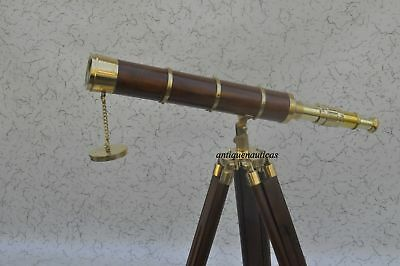 Marine Nautical Navy Telescope With Wood Tripod Stand Brass Cf645