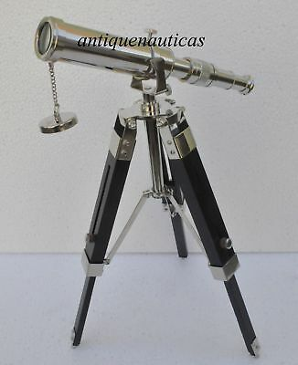 "10"" Solid Brass Chrome Telescope with Tripod Stand Decorative Collectible CF651"