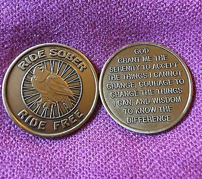 RIDE SOBER  RIDE FREE with Eagle & Serenity Prayer - Sober Bikers Medallion ~ AA