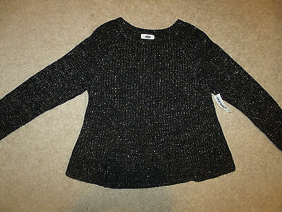 Old Navy Girls Classic/Casual Sweater-Ribbed/Thick Knit-Black/Gold-XS 5-New!