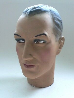Vintage Plaster MANNEQUIN MODEL HEAD Male Gentleman 1940's France Hand Painted