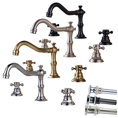 Widespread Bathroom Basin Sink Faucet Swivel Spout Waterfall 3pcs Mixer Tap