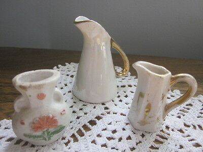 Vintage Miniatures - 2 Porcelain Pitchers &  1 Ceramic Bisque Vase