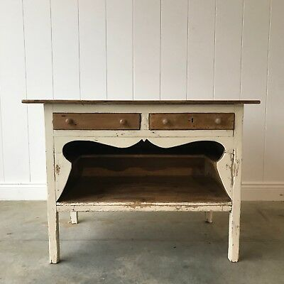 Antique Continental Sideboard With Shelves 2 Drawers Painted Pine Rustic Shabby