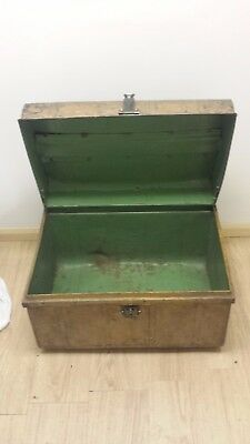 C1900 Victorian/Edwardian VINTAGE STEAMER TRUNK Metal/Tin Travel / Storage Chest