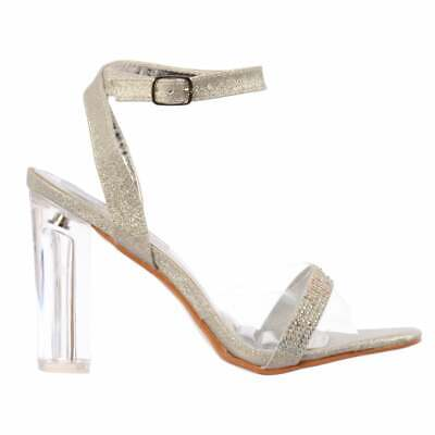 cfe5a2b4fbb65c Ladies Diamante Strappy Perspex Clear Mid Heel Party Sandal Silver New Size
