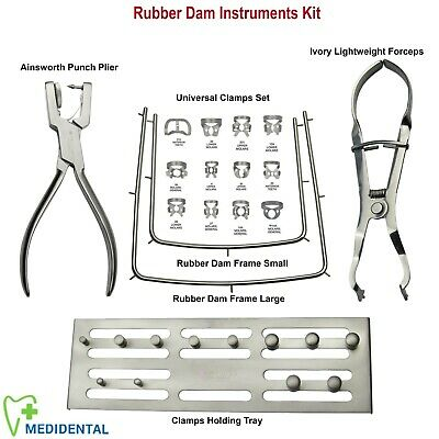 Dental Rubber Dam Set Ivory  Forceps+Ivory Punch pliers + Frames+Clamps Save £20
