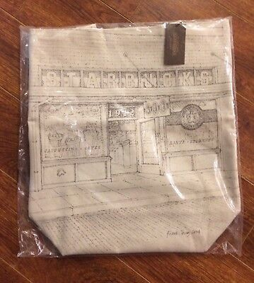 Starbucks First Sketch Tote Bag Pike Place Market Seattle - New!