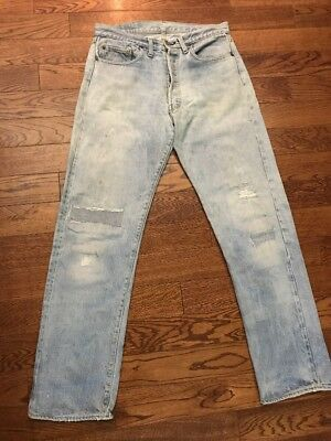 Vintage Levis 501 Redline Singlestitch Patched/ Distressed Jeans - 33 X 31.5