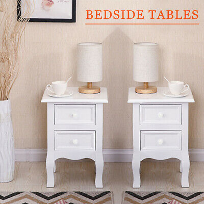 Pair Of Shabby Chic White Bedside Table Unit Cabinet Nightstand 2 Drawer Storage