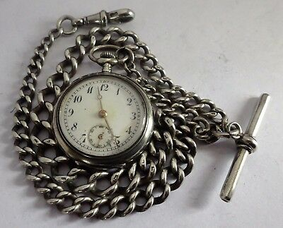 Fabulous Victorian solid sterling silver pocket watch albert chain & fob watch