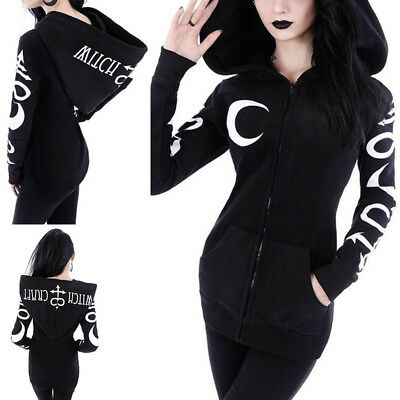 Punk Gothic Women Witch Sweatshirt Hooded Casual Hoodie Long Sleeve Tracksuit