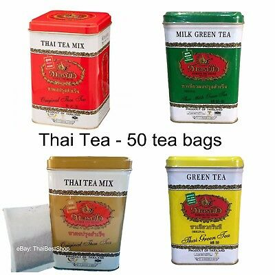 Original Thai Tea Mix Bagged 50 Bags Number One Brand Green Black Halal