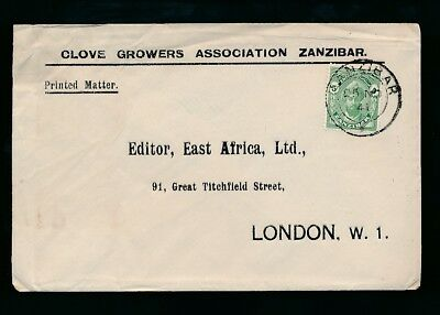 ZANZIBAR 1941 PRINTED MATTER 5c UNSEALED MAIL REPLY ENV.from CLOVE GROWERS ASSOC