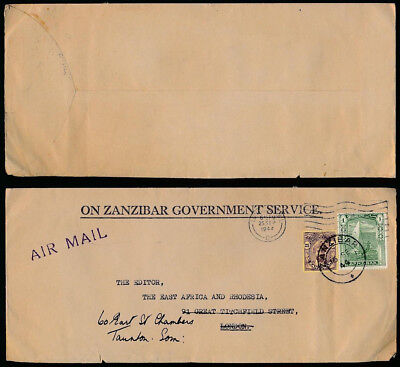 ZANZIBAR 1944 OFFICIAL PRINTED ENV.AIRMAIL 1s + 25c WW2 to EAST AFRICA GAZETTE