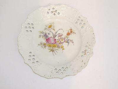 Antique Hand Painted Cut Work Plate.