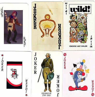 "6 Different OLD & NEW ""Mixed"" JOKER Playing Cards #h"