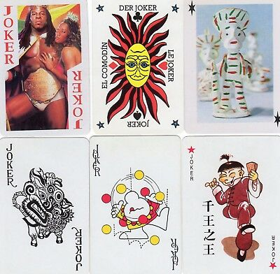 "6 Different OLD & NEW ""Mixed"" JOKER Playing Cards #j"