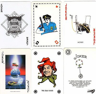 "6 Different OLD & NEW ""Mixed"" JOKER Playing Cards #k"