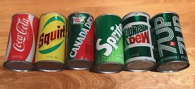 Six Pack Classic American Soda Cans From. 1970s