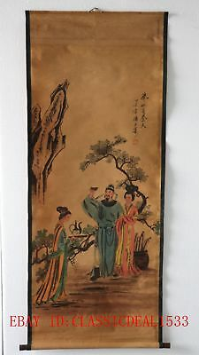 Old Collection Scroll Chinese Painting / The poetry of Li Bai drinking ZH1025
