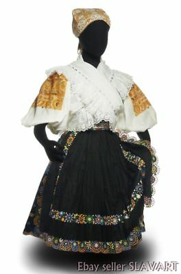 SLOVAK FOLK COSTUME Detva complete kroj embroidered blouse apron skirt vest cap