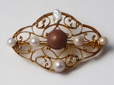 Antique Scottish Victorian Edwardian 18ct Yellow Gold & Freshwater Pearl Brooch