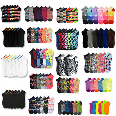 12~600 Women Ankle Socks Assorted Design Colors Noshow School Men Wholesale Lot