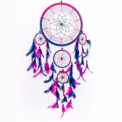 Caught Dreams Dream Catcher  Handmade Traditional Royal Blue Pink and Purple 8.5