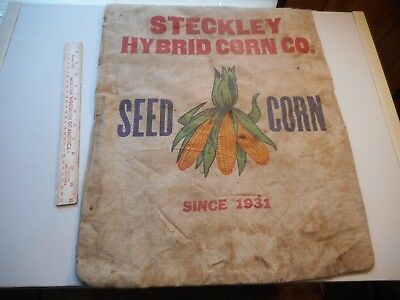 Vintage Cloth Seed Sack Steckley Hybrid Corn Co. Since 1931 Empty Sack