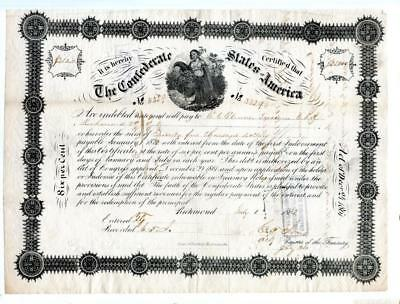 1862    Confederate Bond   $25,000 Signed and Issued to Elmore Secty of Treasury