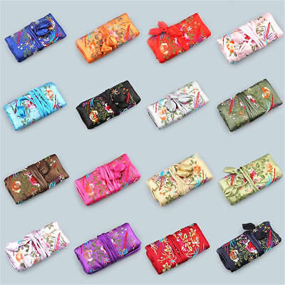 1PC Chinese Vintage Silk Embroidered Jewelry Roll Pouch Travel Makeup Bag S/L