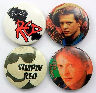 SIMPLY RED BUTTON BADGES 4 x Vintage Pin Badges * Pop *