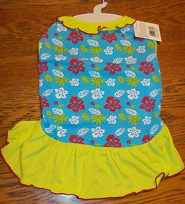 Sz L Blue Hawaiian Print Sundress Dog Dress Small Pet Clothes Dress Apparel nwt