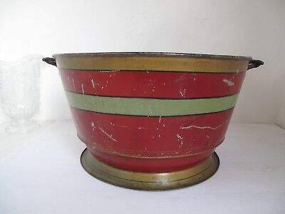 Antique Country French Painted Tole Wash Basin
