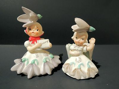 Vintage NAPCO Flower Girl of the Month  & Matching Bobby Pin Dish - January