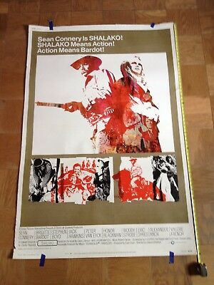 "RARE! VINTAGE 1968  ""Shalako""  with Sean Connery movie poster"