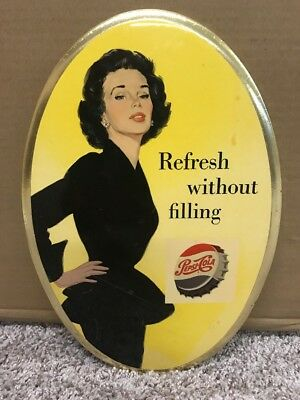 "1950's Pepsi Cola 12"" oval Refresh Without filling sign"