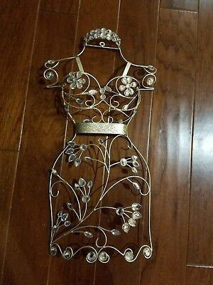 metal wire floral dress mannequin wall decor - light gold