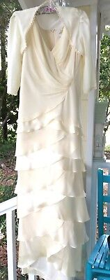 Gorgeous David's Bridal Mother of the Bride/Groom Formal W/Bolero Pale Yellow 10